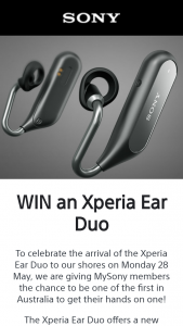 Sonyfree – Win an Xperia Ear Duo (prize valued at $399)