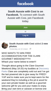 South Aussie with Cosi – Free Accommodation for The Clare Gourmet Weekend??
