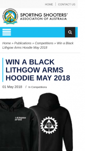 ssaa – Win a Black Lithgow Arms Hoodie May 2018 (prize valued at $80)