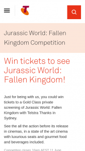 Telstra Thanks – Win One Prize (prize valued at $144)