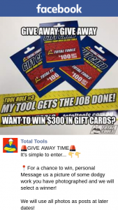 Total Tools – Win $300 Gift Card (prize valued at $300)