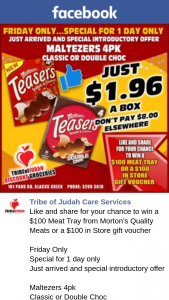 Tribe of Judah Care Services – Win a $100 Meat Tray From Morton's Quality Meats Friday Only Special for 1 Day Only The Store With Just So Much More Open 7 Days a Week