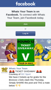 Whats Your Team 2 Ticket for Broncos v Eels 24 – &#128680&#128680 Courtesy of Isc Sport