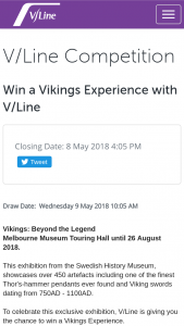 Win a Vikings Experience (prize valued at $70)