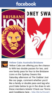 Yellow Cabs – Win Two Double Passes for Two