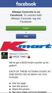 Allwayz Concrete – Will Be (prize valued at $100)