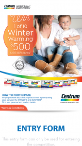 "Centrum – ""win 1 of 10 $500 Ugg Australia Gift Card Promotion"" (prize valued at $5,000)"