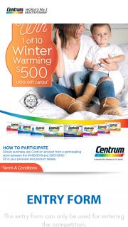 "Centrum – ""win 1 of 10 $500 Ugg Australia Gift Card Promotion"" (prize valued at $5,000)"