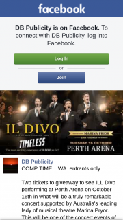 DB Publicity – to See Ill Divo Performing at Perth Arena on October 16th In What Will Be a Truly Remarkable Concert Supported By Australia's Leading Lady of Musical Theatre Marina Pryor