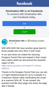 Destination WA – Win a 3 Night Weekend Away for Up to 4 People In a 2 Bedroom Deluxe Cabin Overlooking The Ocean at a Massive 50% Off (prize valued at $240)