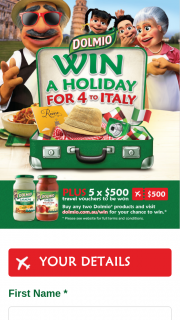 "Dolmio – Win a Trip for Four (4) People to Italy (the ""major Prize"") As Detailed In Paragraph 20. (prize valued at $3)"