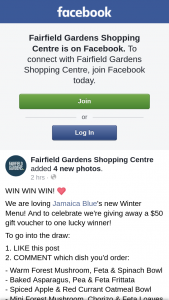 Fairfield Gardens Shopping Centre – a $50 Gift Voucher to One Lucky