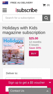 Holidays with Kids Magazine Purchase Subscription to – Win 5 Nights at Nrma Treasure Island Holiday Resort (prize valued at $2,015)