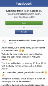 Kenmore Fresh – a $50 Voucher to Spend In Store (prize valued at $50)