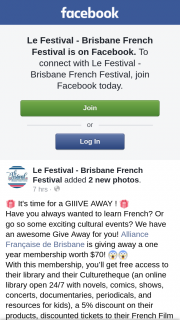 Le Festival Brisbane French Festival – Win a One Year's Membership to Alliance Francaise De Brisbane (prize valued at $70)