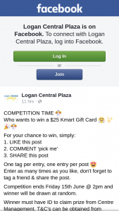Logan Central Plaza – Win a $25 Kmart Gift Card &#129303