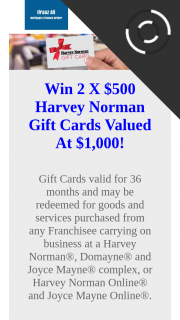 Marketing Tactics – Win 2 X $500 Harvey Norman Gift Cards Valued at $1000 (prize valued at $1,000)