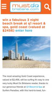 Must Do Brisbane – Win a Three Night Beach Break at Q1 Resort & Spa (prize valued at $2,456)