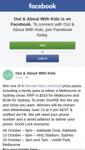 Out & About With Kids – Win One of 4 Monsterjam Live 2018 Prize Packs Including a Family Pass to Either a Melbourne Or Sydney Show (prize valued at $1,264)