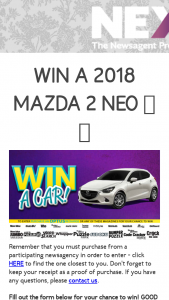 Pacific Mags-Nexus Newsagents – Win a Car 2018 Terms and Conditions (prize valued at $16,990)