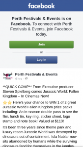Perth Festivals & Events – Win 1 of 2 Great Jurassic World Fallen Kingdom Prize Packs Including (prize valued at $113)