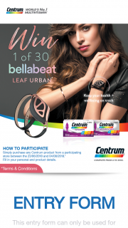 "Priceline Purchase CENTRUM  – ""win 1 of 30 Bellabeat Leaf Activity Trackers"" Promotion Terms and Conditions (prize valued at $199)"