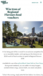 Regional Flavours – Win $200 Worth of Food Vouchers to Spend at Regional Flavours 2018. (prize valued at $200)