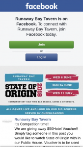 Runaway Bay Tavern – Win $50 Voucher to Be Used on State of Origin Night