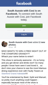 South Aussie with Cosi – Win a Free Night Out at The Stamford Grand?