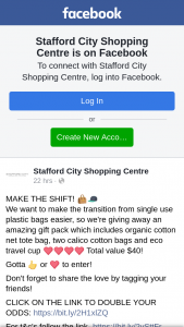 Stafford City Shopping centre – an Amazing Gift Pack Which Includes Organic Cotton Net Tote Bag (prize valued at $40)