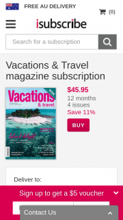 Vacations & Travel Magazine Purchase Subscription to – Win a 5-day Vacation In Hawaii (prize valued at $8,800)