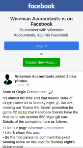 Wiseman Accountants Ipswich – Another $50 Myer Gift Card (prize valued at $50)
