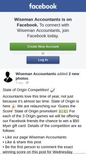 Wiseman Accountants – Win a $50 Myer Gift Card