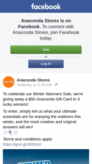 Anaconda are giving away a $50 Gift Card to 3 lucky winners – Win The Prize (prize valued at $150)