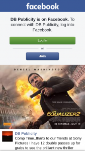 DB Publicity – Win One of Twelve Double Passes to The Equalizer 2