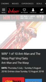 Greater Union-Event Cinemas/Cinebuzz members – Win 1 of 10 Ant-Man and The Wasp Pop