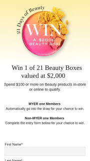 Myer – Win a Beauty Hamper (prize valued at $2,000)