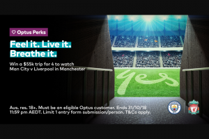optus perks – Win a Trip for You and 3 Friends to Watch Man City Take on Liverpool