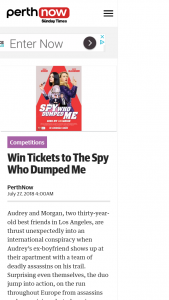 Perth Now – Win a Double In-Season Pass to See The Spy Who Dumped Me
