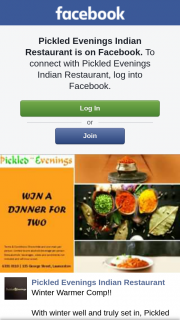 Pickled Evenings Indian Restaurant – Win a Curry Night for Two Like/share/tag No (prize valued at $1)