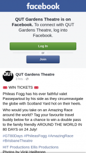 QUT Gardens Theatre – Win a Double Pass to The Family Friendly Around The World In 80 Days on 24 July