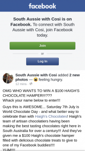 South Aussie With Cosi – Win a $100 Haigh's Chocolate Hamper??