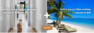 NOKK – Win 1 of 2 home styling packages and the Fiji holiday valued at $13,000 AUD