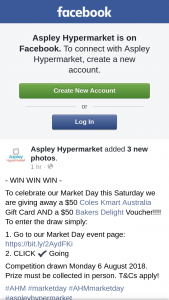 Aspley hypermarket – a $50 Coles Kmart Australia Gift Card and a $50 Bakers Delight Voucher