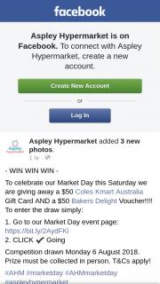 Aspley hypermarket – a $50 Coles Kmart Australia Gift Card and a $50 Bakers Delight Voucher