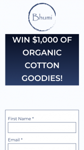 Bhumi – Win $1000 of Organic Cotton Goodies (prize valued at $1,000)