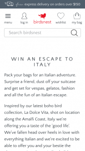 Birdsnest – Win an Escape to Italy (prize valued at $9,000)