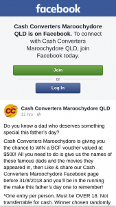 Cash Converters Maroochydore – Win a $500 Bcf Voucher (prize valued at $500)