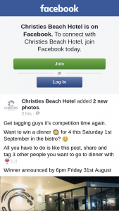 Christies Beach Hotel – Win a Dinner for 4 this Saturday 1st September In The Bistro
