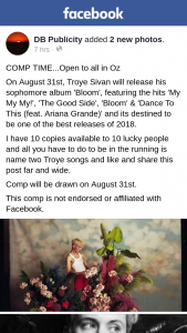 DB publicity – Win One of Ten Copies of Troye Sivan New Album
